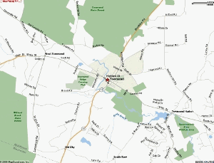Map showing Townsend and surrounding green spaces