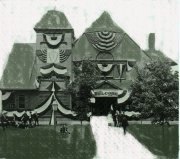 Old Photo of Memorial Hall - decorated with bunting